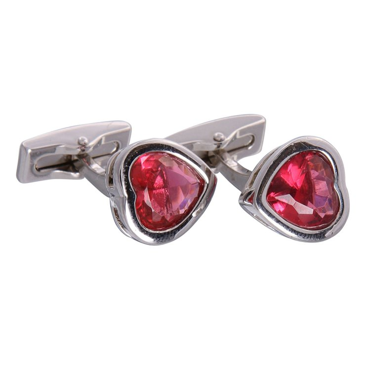 Red Gemstone Heart Cufflinks