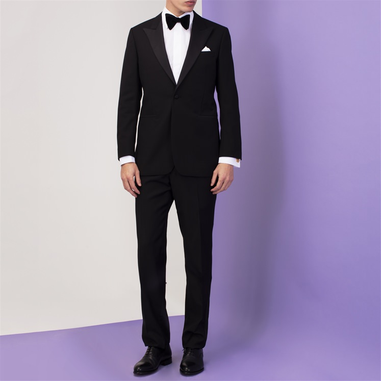 Black Mohair Peak Lapel Dinner Suit