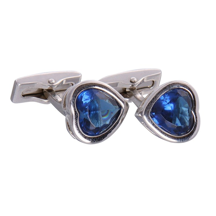 Blue Gemstone Heart Cufflinks