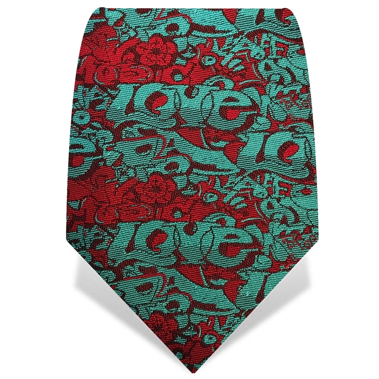 Turquoise & Red Graffiti Tie
