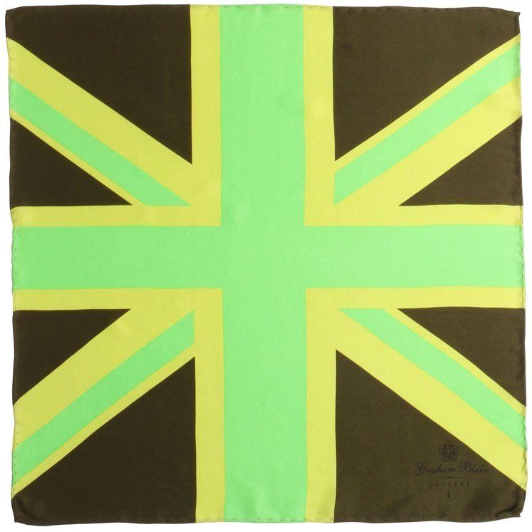 Green Union Flag Pocket Square