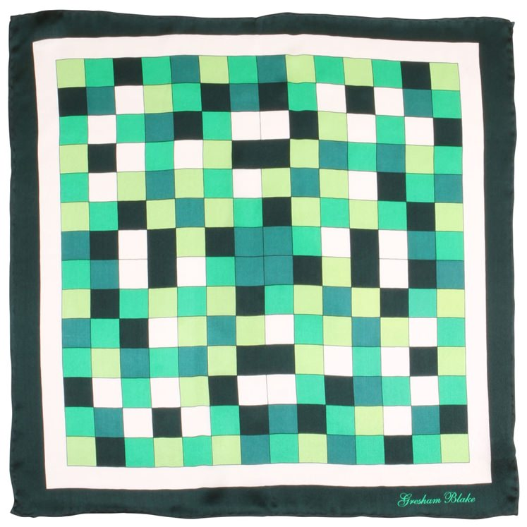 Green Check Silk Pocket Square