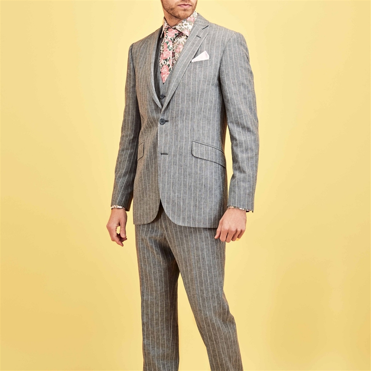 'Cannes' Blue Stripe Suit
