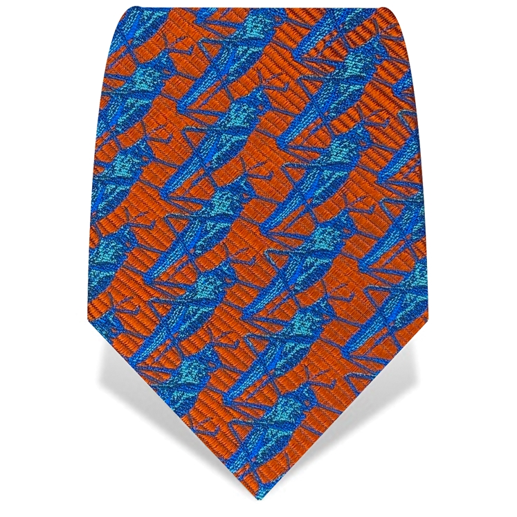 Orange & Blue Grasshopper Tie
