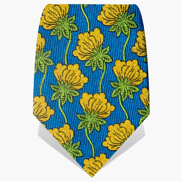Blue & Yellow Hanging Flower Tie