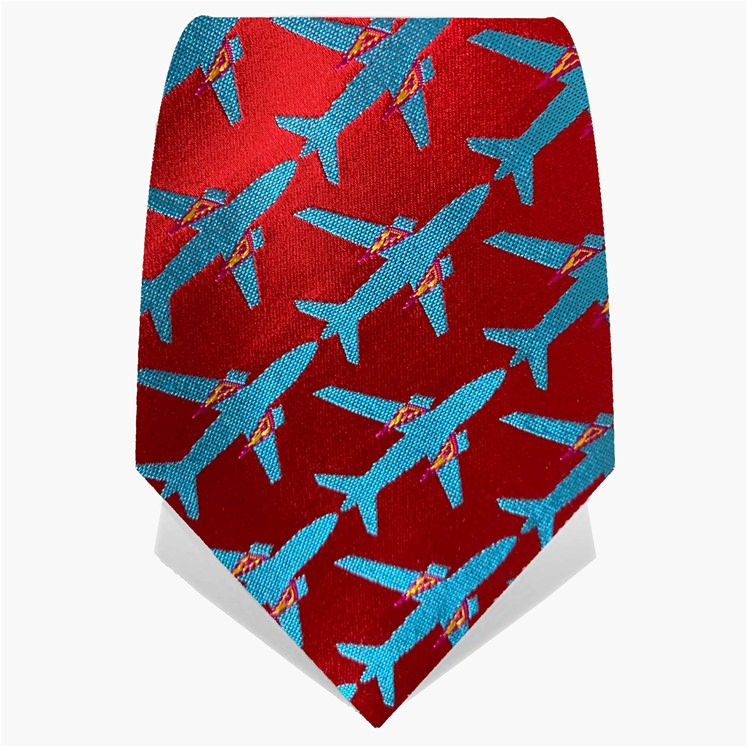 Red & Turquoise Planes Tie