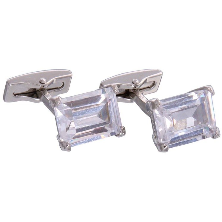 Silver & Clear Gemstone Cufflinks