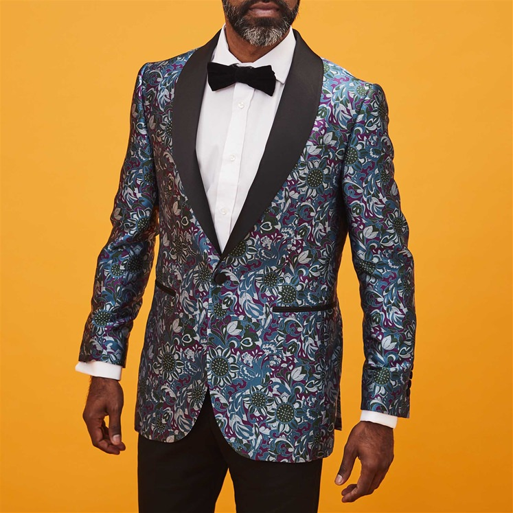 Psychedelic Crow Silk Dinner Jacket