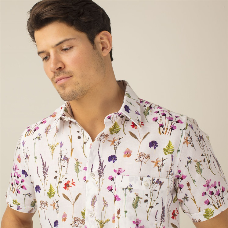 Short Sleeved Linen Pressed Flowers Shirt