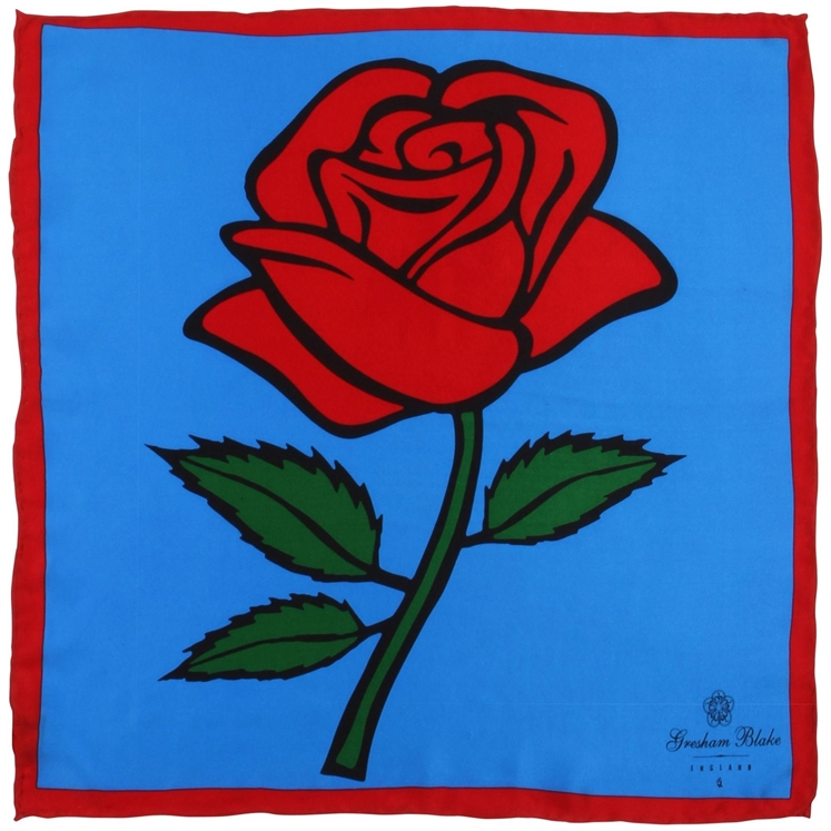 Blue Rose Pocket Square