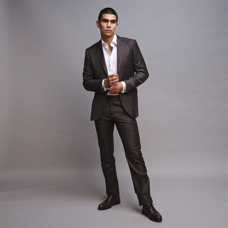 Charcoal & Brown Wool 2 Piece Suit