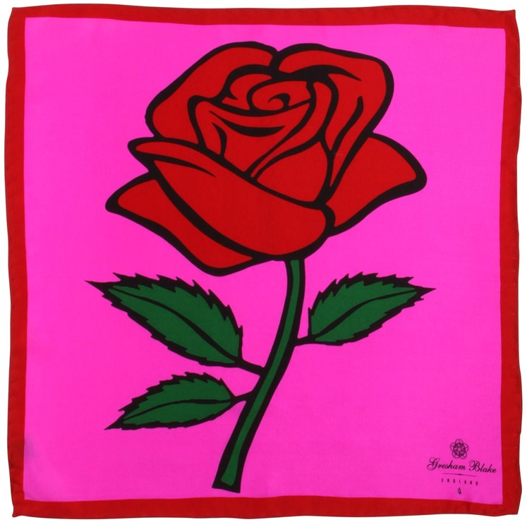 Hot Pink Rose Pocket Square