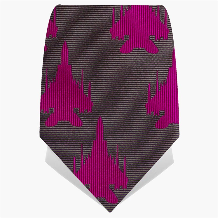 Silver and Pink Plane Tie