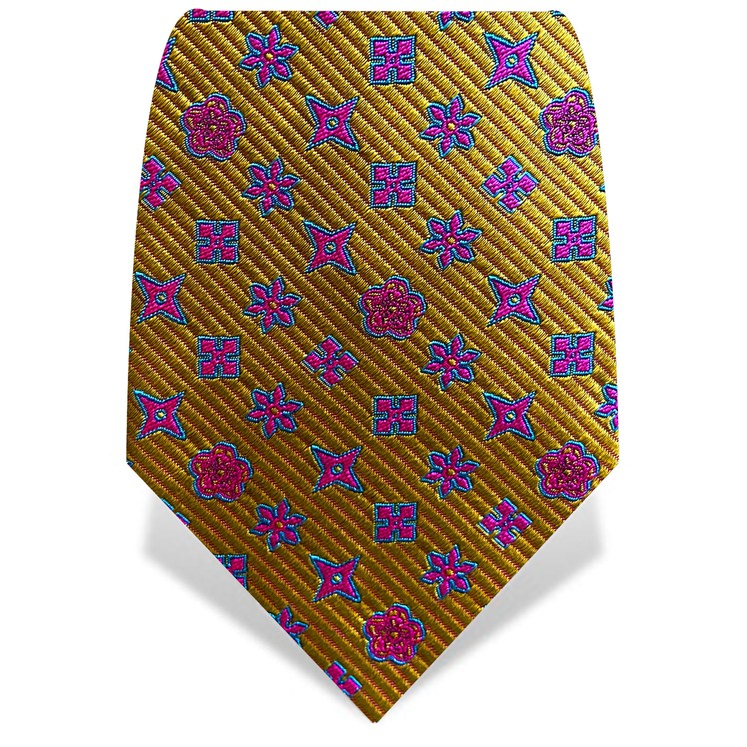 Yellow & Pink Throwing Stars Tie