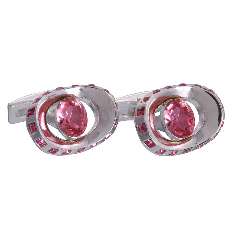 Silver & Pink Gemstone Eye Cufflinks