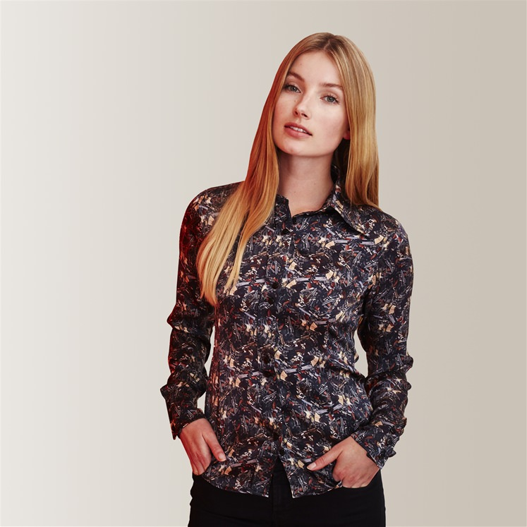 Womens Silk Broken Guns Shirt