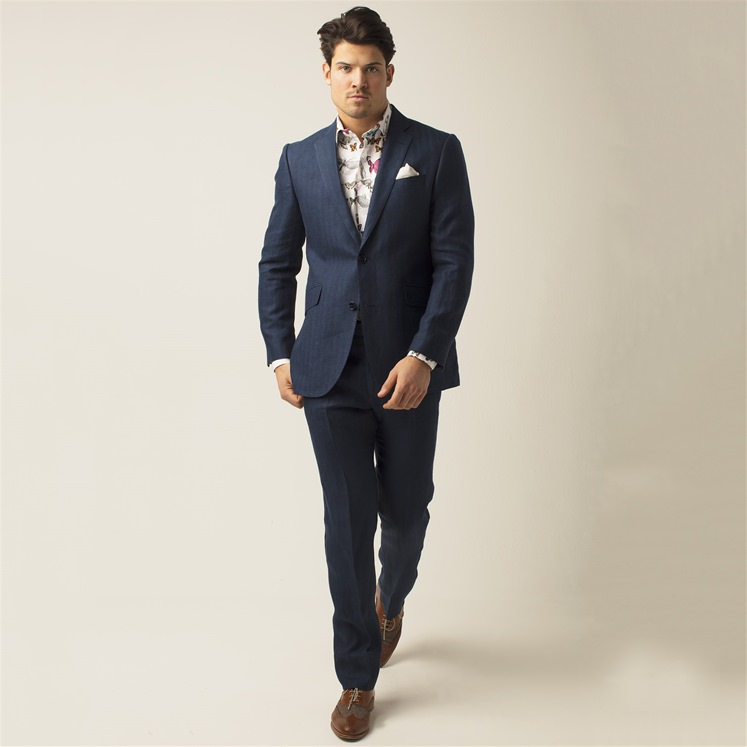 Navy Herringbone 2 Piece Linen Suit