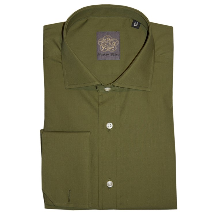 Green Plain Cotton Double Cuff Shirt