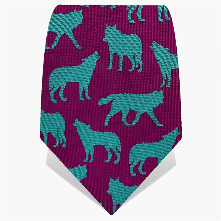 Purple & Turquoise Wolves Tie