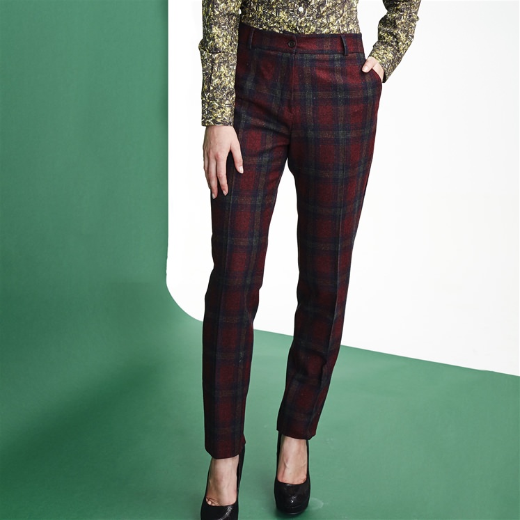 Womens Maroon Check Wool Trouser