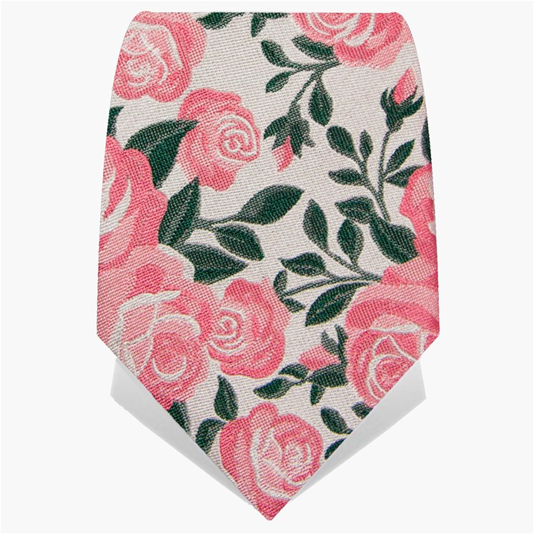 Silver & Pink Roses Tie