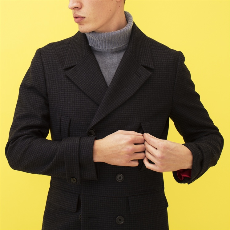 Blue Check Peacoat