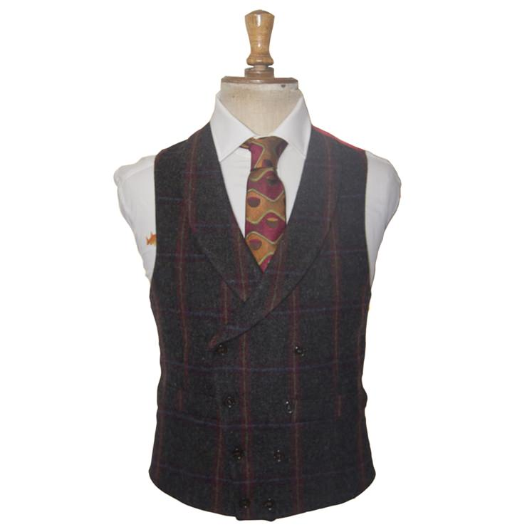 Grey Check Double Breasted Waistcoat