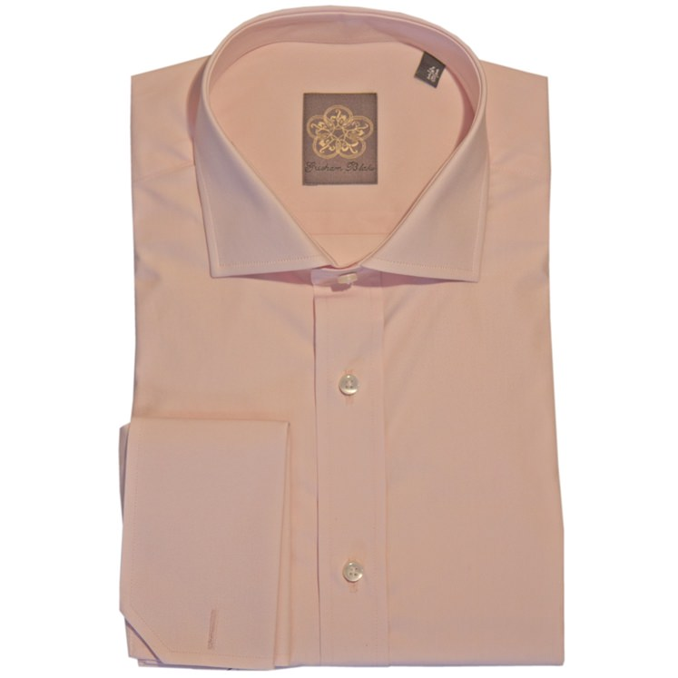 Powder Pink Plain Cotton Double Cuff Shirt