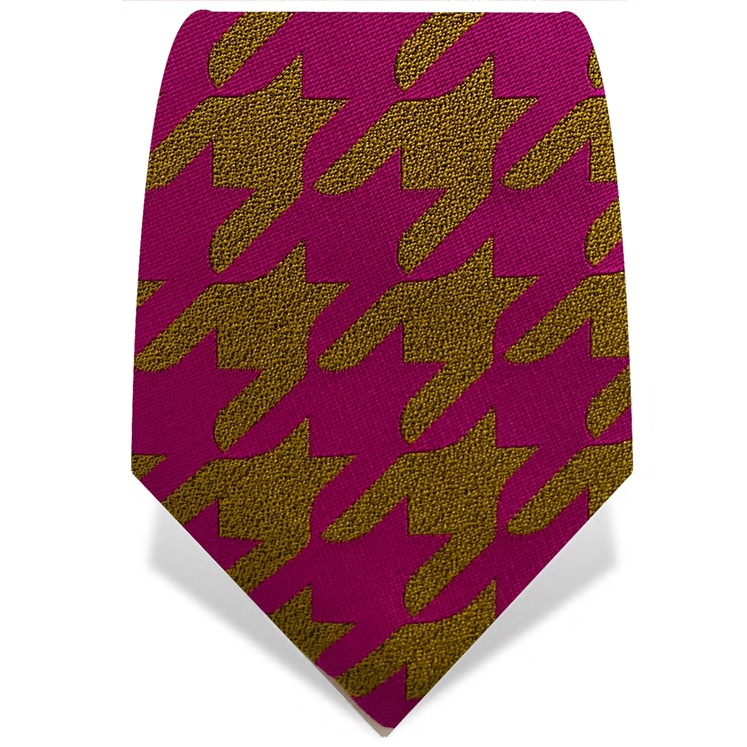 Pink & Yellow Houndstooth Tie