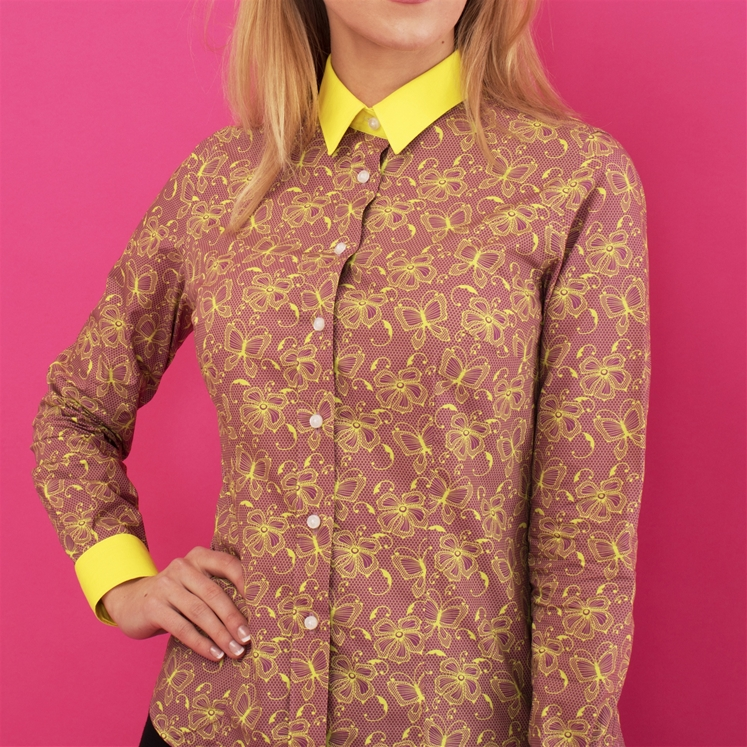 Ladies Yellow Butterfly Net Shirt