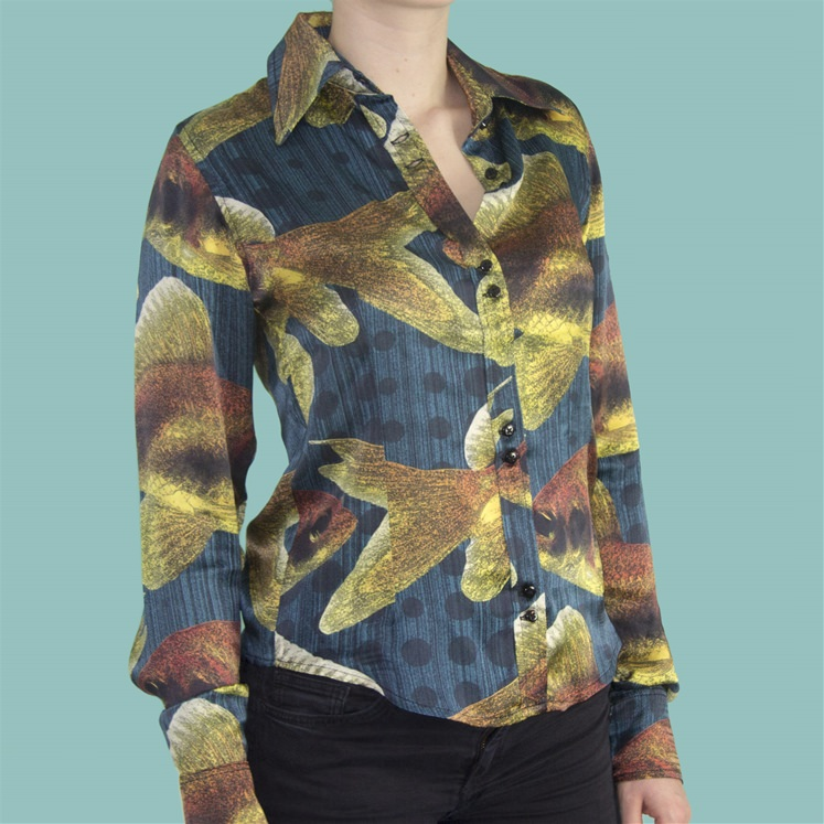 Womens Dark Blue Silk Goldfish Shirt