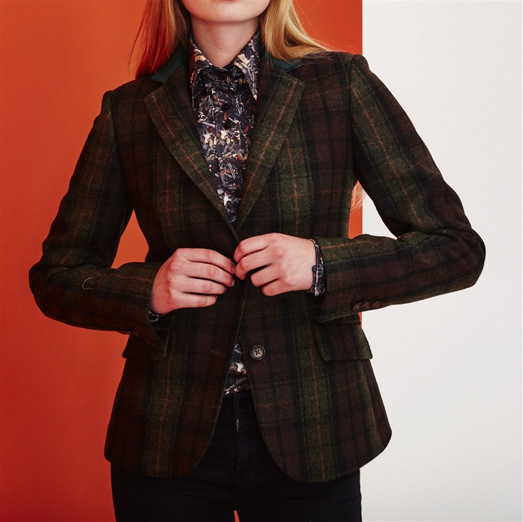 Ladies Green Check Wool & Velvet Jacket
