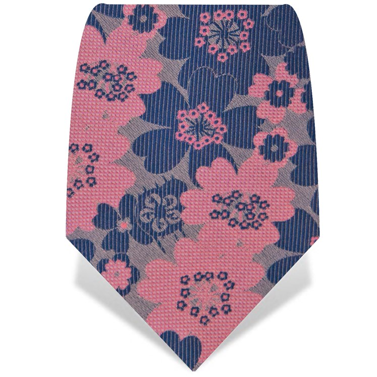 Pink and Blue Flower Tie