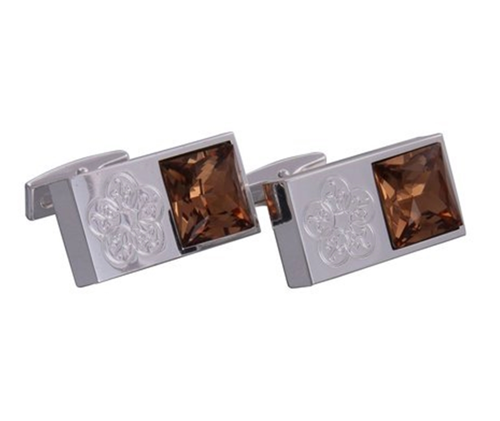 Silver & Brown Gemstone Emblem Cufflinks