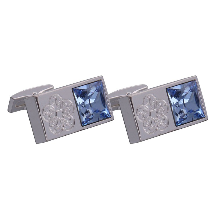 Silver & Blue Gemstone Emblem Cufflinks