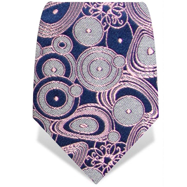 Navy and Pink Circles Tie